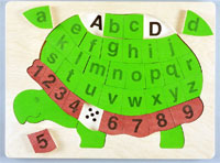 Turtle Wooden Letters and Numbers Puzzle
